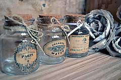 Nádoby - Vintage shabby fľaštičky sada 3 - 4939403_