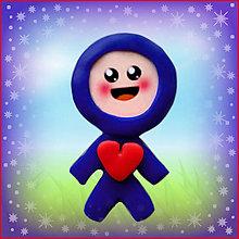 Magnetky - Valentínsky pajác (modrý (magnetka)) - 4939103_