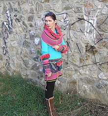 Sukne - veselo vo farbách :-)sukňa, kapucňa a rukávniky - 4947019_