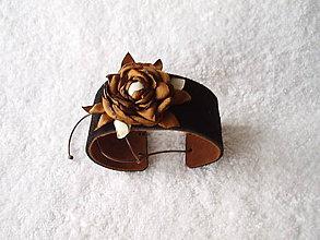 Náramky - Náramok koženo-textilný, smútok - 4944436_