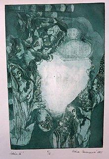 Grafika - Čakám ťa - grafický list - zelená na bielom - 4952852_