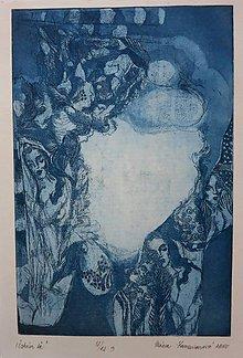 Grafika - Čakám ťa - grafický list - modrá na bielom - 4952890_