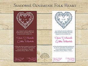 Papiernictvo - Svadobné oznámenie Folk heart - 4955512_