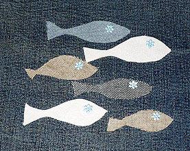 Úžitkový textil - Ako rybky  v mori - riflový obraz - 4957139_