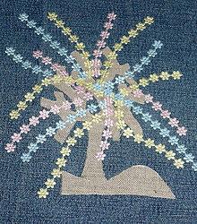 Úžitkový textil - Smutná vŕba - riflový obraz - 4957151_