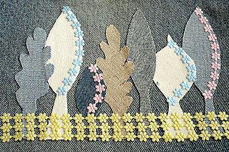 Úžitkový textil - Oplotený sad - riflový obraz - 4957216_
