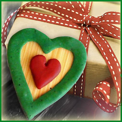 Valentínska magnetka - srdce - v natur farbách