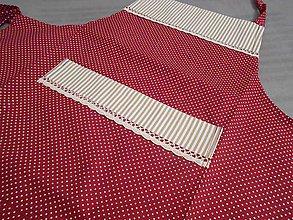 Úžitkový textil - zásterka pre každú kuchárku bordovo - béžová - 4960612_
