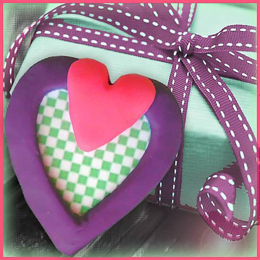 Valentínska magnetka - srdce - šachovnica