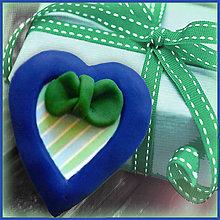 Magnetky - Valentínska magnetka - srdce (s mašličkou) - 4959826_