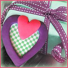 Magnetky - Valentínska magnetka - srdce (šachovnica) - 4961845_