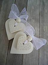Darčeky pre svadobčanov - Srdiečko biele dvojité - 4966449_