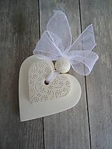 Darčeky pre svadobčanov - Srdiečko biele dvojité - 4966451_