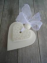 Darčeky pre svadobčanov - Srdiečko biele dvojité - 4966452_