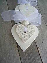 Darčeky pre svadobčanov - Srdiečko biele dvojité - 4966453_