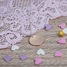 Náhrdelníky - Ružový disk Believe - 4967195_