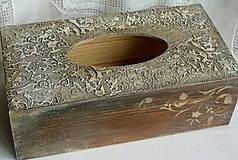 Krabičky - Drevo a kameň/ zásobník na vreckovky - 4968443_