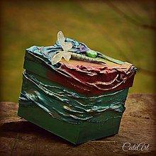 Krabičky - Zlatisté lúče na hladine - krabička na drobnosti - 4966737_