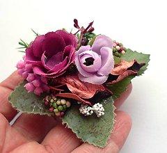 Ozdoby do vlasov - Ružovo-fialová (sponka + brošňa) - 4966786_
