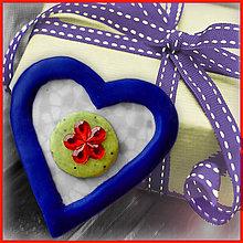 Magnetky - Valentínska magnetka - srdce (s kvetom) - 4966601_
