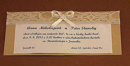 Papiernictvo - Svadobné oznámenie čipka - 4970760_