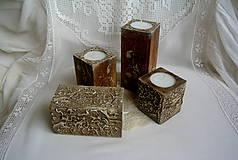 Svietidlá a sviečky - Drevo a kameň/sada svietnikov - 4971489_