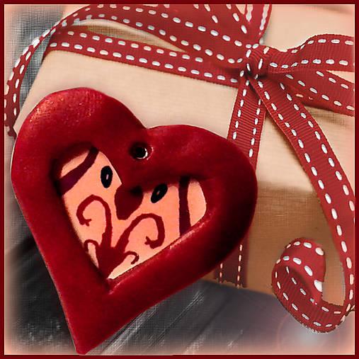 Valentínsky prívesok - srdce - s ornamentom