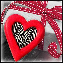 Magnetky - Valentínska magnetka - srdce (zebra) - 4968845_