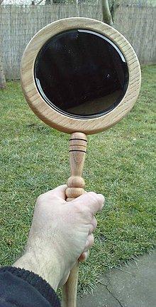 Zrkadielka - zrkadlo s rúčkou z dreva - 4975482_