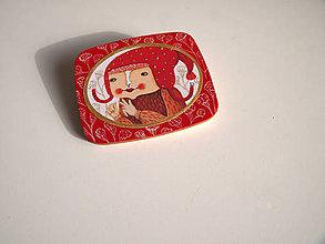 Odznaky/Brošne - Brož / dívka s červenou čepicí - 4975398_