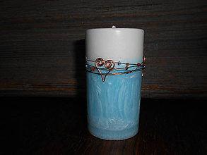 Svietidlá a sviečky - tyrkysová s medenými srdiečkami - 4973741_