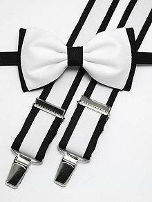 Doplnky - Pánsky motýlik a traky Black&White - 4981047_
