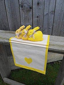 Úžitkový textil - Srdiečková štóla - žltá SKLADOM - 4980785_