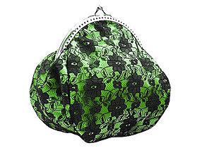 Taštičky - Čierno zelená čipkovaná kabelka 0620A - 4988478_