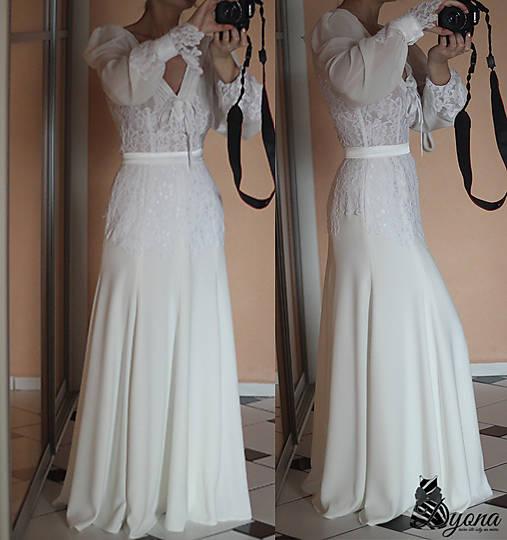Romantické spoločenské šaty s dlhým rukávom rôzne farby