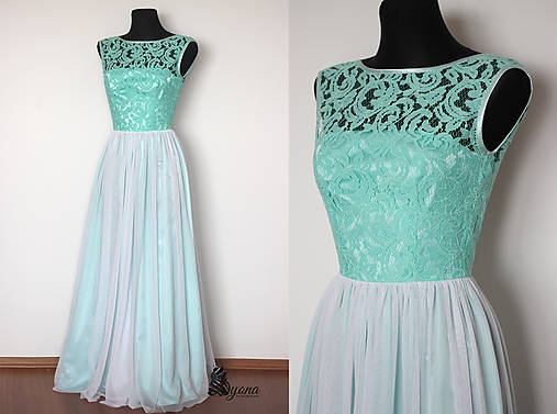 8cb312ec174c Spoločenské šaty Mentol s tylovou sukňou   Dyona - SAShE.sk ...