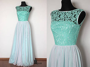 Šaty - Spoločenské šaty Mentol s tylovou sukňou - 4987005_