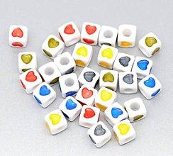 Korálky - Plastové korálky srdiečka kocky (balíček 10ks) - 4985523_