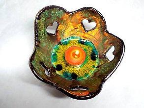 Svietidlá a sviečky - Srdiečkový svietnik (zelenkavý) - 4987397_