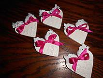 Darčeky pre svadobčanov - srdiečko pre hostí s krajkou/zdobené - 4987047_