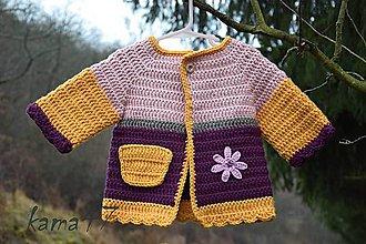 Detské oblečenie - Svetrík.. slnečnica, ruža, fialka - 4993050_