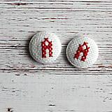 Náušnice - Náušnice s vyšívaným monogramom - 4994360_