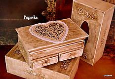 Krabičky - Medové srdce čipkovanô - 4992830_