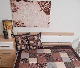 Úžitkový textil - prehoz patchwork deka 140x200cm čokoládovo - hneda - 4998261_