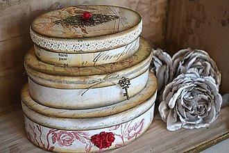 Krabičky - Sada 3 oválnych vintage krabíc - 4996790_