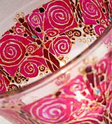 Roztancované špirálky ružové - maľovaný sklenený svietniček