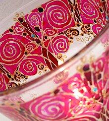 Svietidlá a sviečky - Roztancované špirálky ružové - maľovaný sklenený svietniček - 5000363_