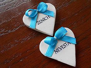 Darčeky pre svadobčanov - svadobné menovky/srdiečka - 5001671_