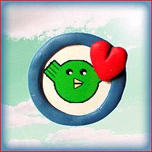 Magnetky - Valentínsky vtáčik v kolečku - 4999456_