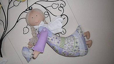 Dekorácie - fialový závesný anjelik - 5005859_